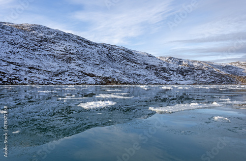 Foto op Plexiglas Arctica Morning Reflections in a Glacial Fjord