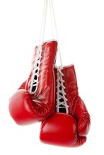 Pair Of Red Boxing Gloves Isolated Isolated On White