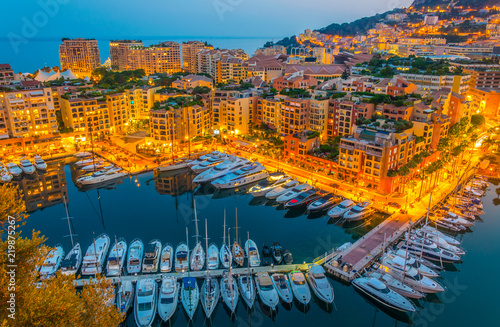 Photo sur Aluminium Mexique Port de Fontvieille in Monaco during sunset