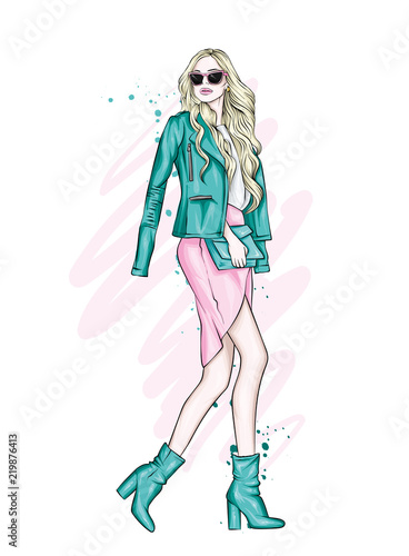 Aluminium Prints kids room A beautiful girl with long hair in glasses, a jacket, a skirt and boots with heels. Vector illustration for a postcard or a poster, print for clothes. Fashion and Style. Fashionable look.