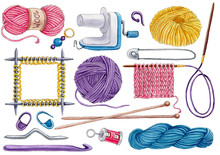 Watercolor Set Of Knittinng Tools