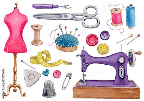 Fototapeta watercolor set of sewing tools