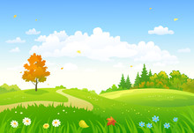 Vector Cartoon Drawing Of A Colorful Autumn Forest