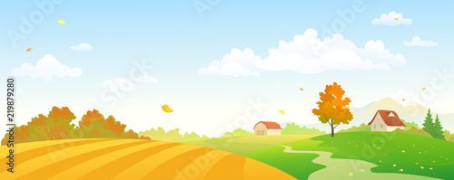 Fototapeta Vector cartoon illustration of an autumn farm panorama obraz