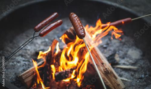 Obraz hotdogs roasting on sticks over flames in a campfire - fototapety do salonu