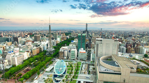 Japan Nagoya city sunrise sakae tv tower oasis21 landscape aerial photography Tablou Canvas