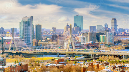 Fotomural The skyline of Boston in Massachusetts, USA
