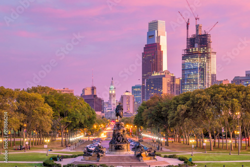 Poster Verenigde Staten Beautiful Philadelphia skyline at night