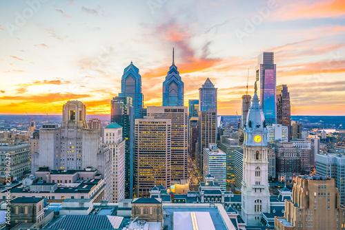 Poster Verenigde Staten Top view of downtown skyline Philadelphia USA
