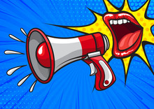 Colorful Cartoon Vector Design Of Red Lips Screaming And Spreading Information With Megaphone In Pop Art Style