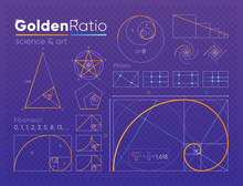Vector Set Of Various Figures And Shapes In Law Of Golden Ratio Composed On Purple Transparent Background