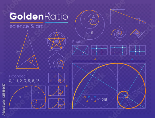 Fotomural Vector set of various figures and shapes in law of golden ratio composed on purp