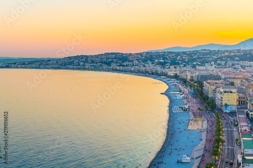Photo sur Toile Nice Sunset view of Nice, France
