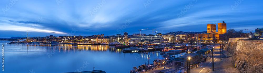 Fototapeta Oslo panorama night city skyline at Oslo City Hall and Harbour, Oslo Norway