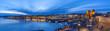 Oslo panorama night city skyline at Oslo City Hall and Harbour, Oslo Norway