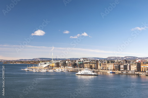Oslo city skyline at Oslo Harbour, Oslo Norway