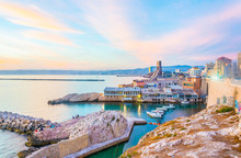 Sunset View Of Seaside Of Marseille, France