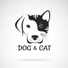 Vector Of Dog And Cat Face Design On A White Background. Pet. Animal.
