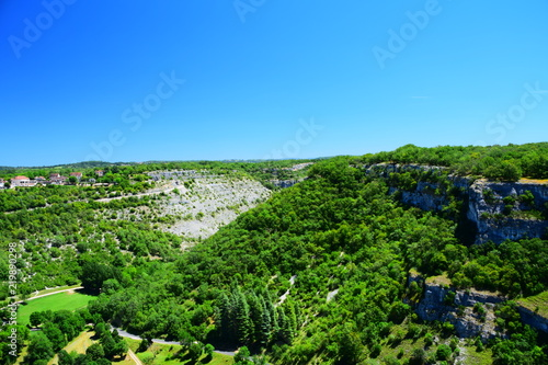 Foto op Aluminium Blauw View of the Lot River valley from atop the medieval village of Rocamadour, France