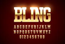 Bling Style Gold Font Design, ...
