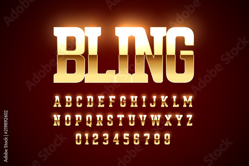 Bling style gold font design, alphabet letters and numbers Canvas Print