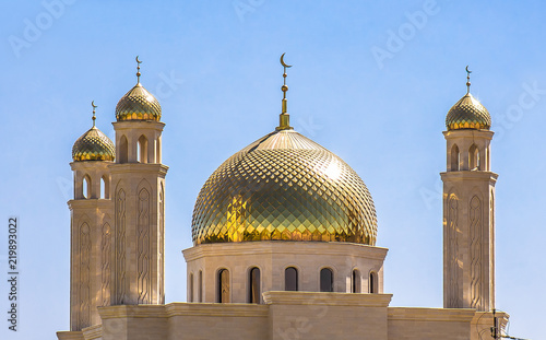 Stampa su Tela Golden domes of mosques against the sky