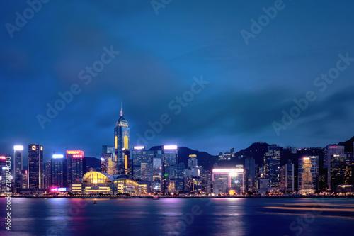 Photo  Hong Kong Harbor View at night