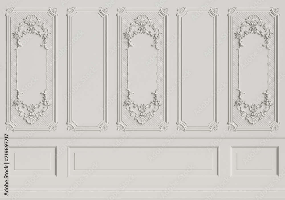 Fototapety, obrazy: Classic interior wall with mouldings
