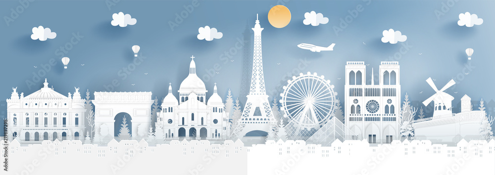 Fototapety, obrazy: Panorama of top world famous landmark of Paris, France for travel poster and postcard, in paper cut style vector illustration.