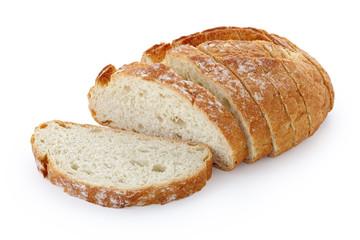 Izbliza slika rezanja kruha na bijeloj pozadini izoliranoj bijeloj pozadini