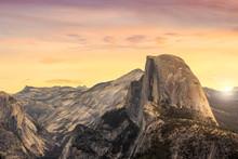 Beautiful View Of Yosemite National Park At Sunset In California