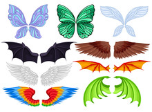 Flat Vector Set Of Colorful Wings Of Different Creatures Butterfly, Fairy, Bat, Bird, Angel And Dragons. Elements Of Masquerade Costumes