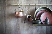 Old Vintage Dishware On Dark W...