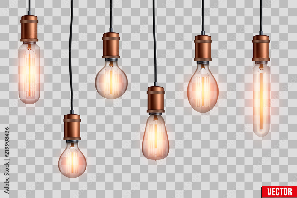 Fototapeta Decorative Retro design edison light bulb set. Lamps of different shapes. Vintage and antique style with copper. For loft and cafe. Vector Illustration isolated on transparent background.
