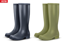 Set Of Work Rain Boots. Fashio...
