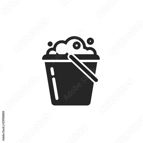 Bucket of water icon vector isolated, pail or bucketful with foam and bubbles symbol Wall mural