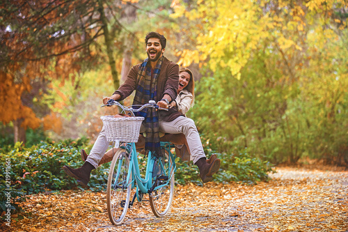 Couple enjoying fall