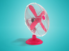 Modern Red Metal Fan For Cooli...