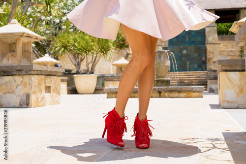 Canvas-taulu Woman in skirt and red high heel shoes