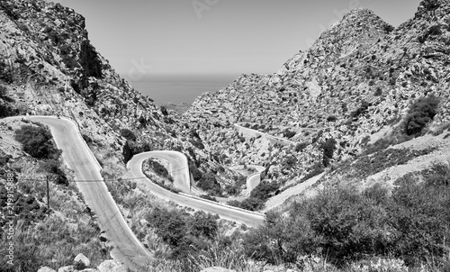 Black and white picture of winding mountain road, Mallorca, Spain.