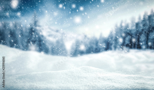 winter background of snow and frost with landscape of forest