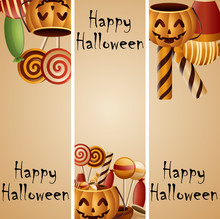 Halloween Banner Pumpkins Basket And Collected Candy