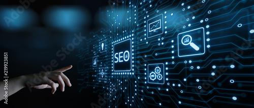Obraz SEO Search Engine Optimization Marketing Ranking Traffic Website Internet Business Technology Concept - fototapety do salonu