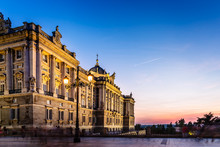 Royal Palace In Madrid, Spain, At Sunset