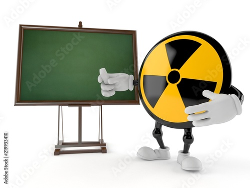 Radioactive character with blank blackboard Canvas Print