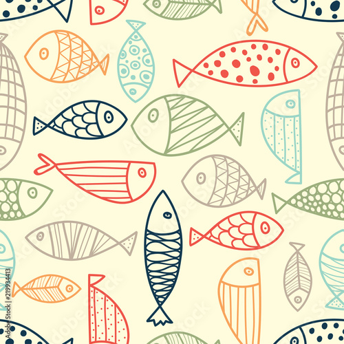 Spoed Foto op Canvas Kunstmatig Blue fish. Vector seamless pattern.Endless pattern can be used for ceramic tile, wallpaper, linoleum, textile, web page background.