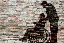 Silhouettes Wheelchair And Man...
