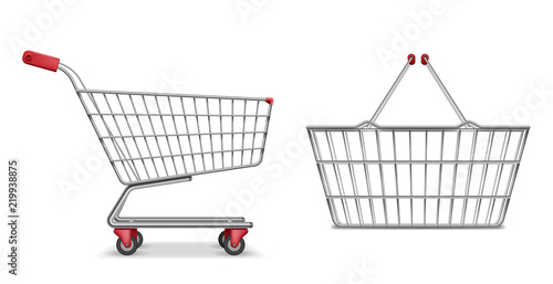 Empty metallic supermarket shopping cart side view isolated Fototapeta