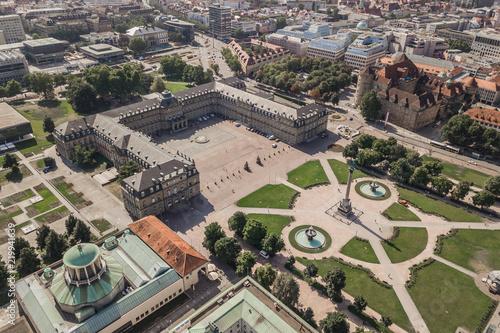 Staande foto Historisch geb. Aerial view of Schlossplatz. Palace square in Stuttgart