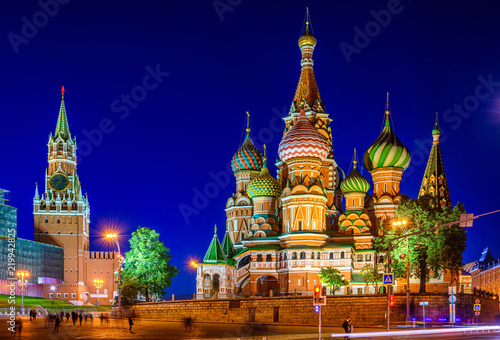 Night view of Saint Basil s Cathedral and Red Square in Moscow, Russia. Architecture and landmark of Moscow. Night cityscape of Moscow